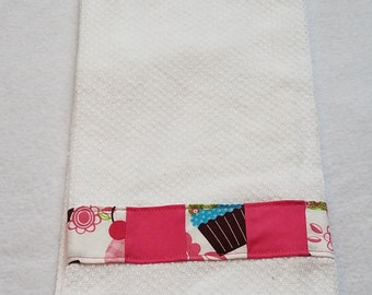 Kitchen Towel - Small Towel - Hand Towel - Cupcake Trim Kitchen Towel - Cupcake Kitchen Towel - Towel - White cupcake Kitchen Towel