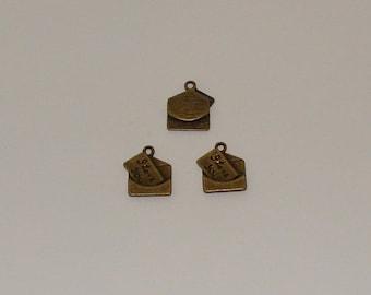 5 pendants 18x16mm antique bronze love letter