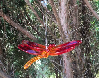 Crystal Dragonfly Mobile Piece--Hanging Red & Orange Dragonfly Ornament--Fun Gift Box Decoration