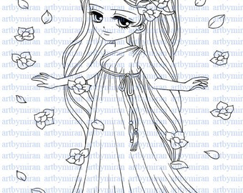 Digital Stamp-Ceridwen(#50), Digi Stamp, Coloring page, Printable Line art for Card and Craft Supply, Art by Mi Ran Jung