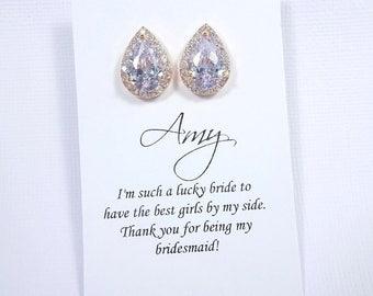 Rose Gold Stud Crystal Earrings, Clear Crystal Earrings, Rose Gold Wedding Earrings, Bridesmaid Earrings, Bridesmaid GIft, Bridal Party Gift