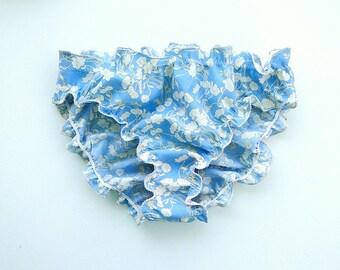 Blue cotton panties, frilly panties, cotton underwear