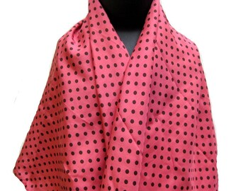 Polka dots,pink scarf in silk.Free shipping.