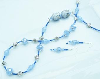 SET - Twit Twoooo Two Owls Blue Long Necklace & Earring Set