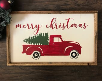 Red Truck With Christmas Tree - Red Truck Christmas Decor - Red Truck Wall Art - Christmas Truck - Christmas Tree Farm - Christmas Tree Sign