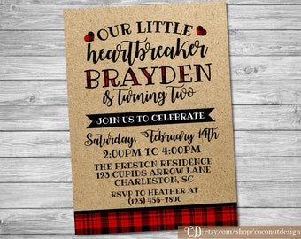 Little Heartbreaker Birthday Invitation / Valentine's Birthday Invitation / Boys Birthday / Digital File