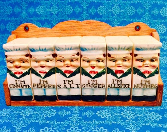 Royal Sealy Chef Spice Bottle Set with Shelf made in Japan circa 1950s