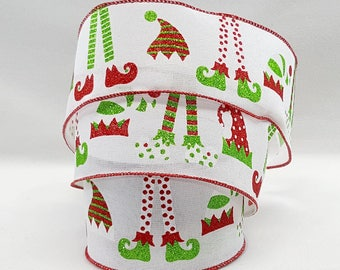 Wired Christmas Ribbon ~ 2.5 Inch Elf Legs And Hats On White Canvas Like  Ribbon ~