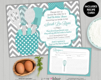 Across the Miles Stock the Kitchen Bridal Shower Invitation with Recipe Card Printable - Teal Blue Grey Chevron Teal Gray - Printable File