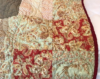Lap size blanket, homemade quilts, Small Quilts, light quilt, muted color blanket