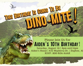 Birthday Invitation Dinosaur Themed DIGITAL FILE