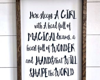 Large Wood Sign - Here Sleeps a GIRL With a Head full of MAGICAL DREAMS -Farmhouse Sign - Subway Sign - Wood Sign - Home Decor - Girls Bedro