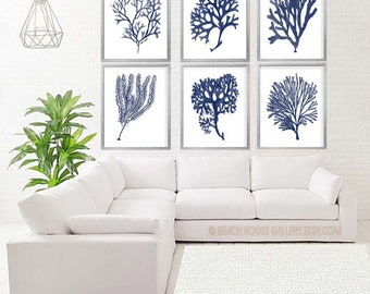 Navy Blue Coral, Navy Blue White Coral Print Set of Six Prints, Blue Coral Art, Coral Wall Art, Six Coral Prints, Blue White Art