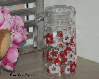 Vintage red and white jug, pitcher, french vintage, red, red and white jug, pitcher orangeade, vintage flowers decor, jug