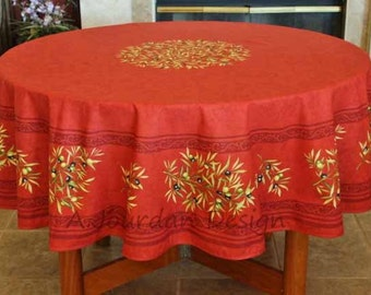 French Provence PETITE OLIVE RED Acrylic Coated Round Tablecloth - French Oilcloth Stain Resistant - Table Decor Gifts - Napkins Available