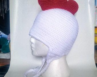 Chicken hat Rooster hat crochet knit earflap tassels
