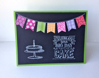 Birthday card, chalkboard look with banner, hand stamped