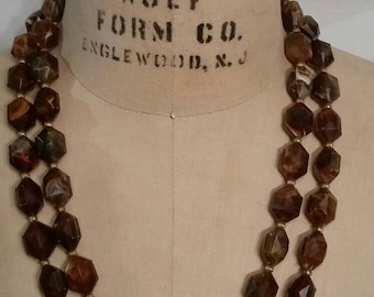 "Vintage necklace, brown, 24"""