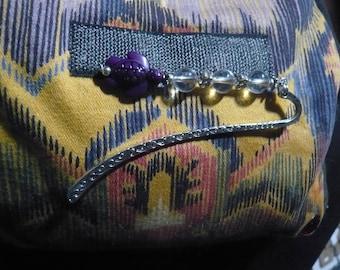 Mini Lesezeichen kleine Schildkröte lila und Bergkristall