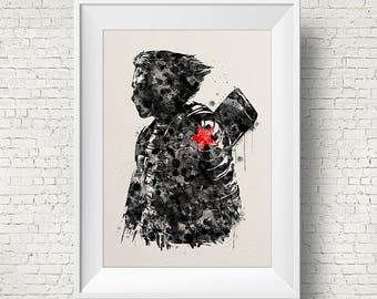 Winter Soldier Poster Watercolor Print The Avengers Captain America  Winter Soldier art Movie poster Civil War print Super hero  Print Gift