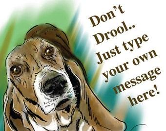 Customizable Digital Download Card PDF | Basset Hound Art Printable Greeting Card | DIY Personalized | Teal & Green | Dog Portrait