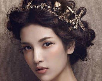 ARIEL, bronze sea star starfish little mermaid hair vine, pearl crystal gold leaf bridal hair accessories, headband hair piece, wedding hair