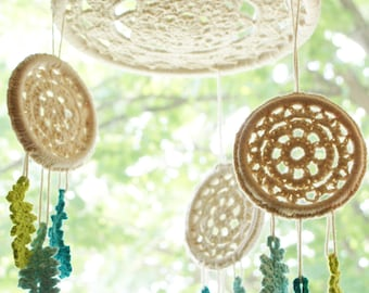 "DIY Crochet PATTERN - Dreaming of Dreams Dreamcatcher Inspired 10"" and 4"" diameter Mobile and Wall Hanging (HomDec008)"