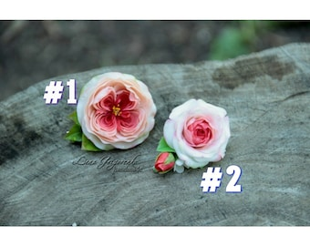 rose brooch, flower hairclip, cold porcelain, wedding stuff, groom boutonniere, rose hair, pink headband, pink flower hairclip, english rose