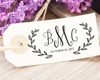 Botanical Wedding Favor Stamp - Wedding Stamp For Favors - Wreath Wedding Logo - Spring Wedding Monogram - Logo Favor Tag-Floral Calligraphy