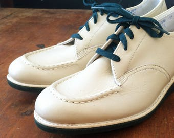 FINAL SALE --- Vintage 1940s Style Taupe & Green Wedge Leather Shoes, 7.5