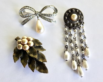 Three Faux Pearl Brooches