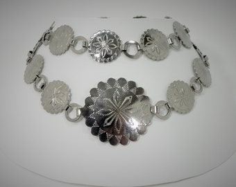 Concho Belt - Silver Tone - Navajo Style