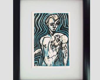 Poseidon, God of the Sea reduction linocut print, hand-pulled Greek Mythology