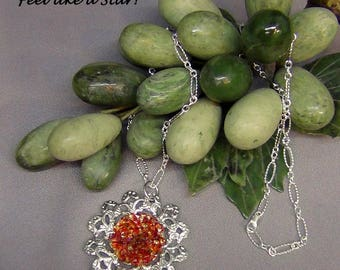 """Filigree Necklace  - Swarovski Red Magma, Silver Plated Figaro Chain- 24"""" + 1.75"""" Pendant - Hand Crafted Artisan Jewelry"""