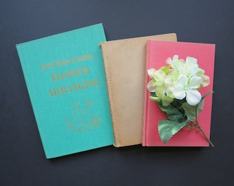 Flower Arranging Books // Vintage Set of Three Guidebooks For Floral Arrangements Mid Century Modern Contemporary Home Decor How To Books