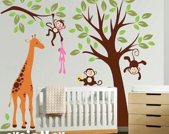 Giraffe with Monekys Wall Decals - Children Wall Stickers Kids Wall Art - PLMG030L