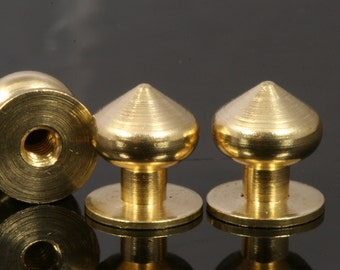 "Raw Brass Studs, 10 x 11 mm Shirt Collar Tuxedo Stud, Industrial with 1/8"" thread hole with  brass 1/8"" bolt 1408"