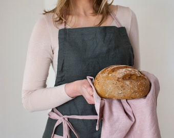 Gocolinen Apron with 2 pockets and flexible neck loop, 100% linen, natural linen - in silver brown & dusty pink