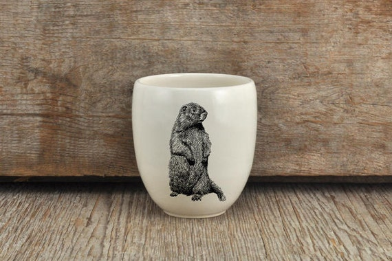 Handmade Porcelain coffee tumbler with woodchuck drawing Canadian Wildlife collection