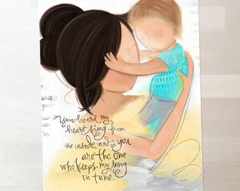 Mother and Child Art - Child's Room, Mother and Son Art, Wall Art