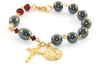 Christian Prayer Bracelet - St Benedict Chaplet for the Wrist, Anglican Rosary Bracelet