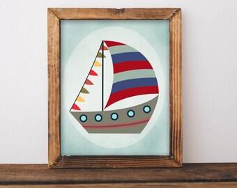 Sailboat Printable Wall Art 8x10 Boat printable art, Boat art Boy nursery Wall art Nautical Nursery Art, Nursery decor Toddler Boy Sea Ocean