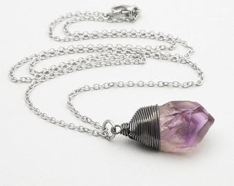 Raw Amethyst Necklace Oxidized Black Silver Crystal Gemstone Point Necklace Rough Amethyst Pendant February Birthstone Layering Necklace