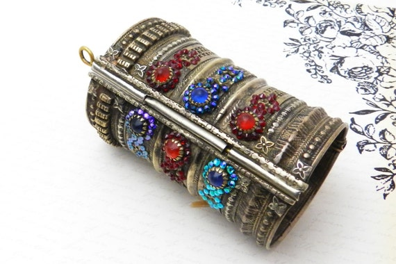 OOAK Kuchi Bracelet - Vintage Tribal Kuchi Hinged Cuff Bracelet with Red, Blue, Aqua Aurora Borealis Swarovski Crystal
