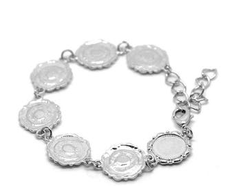 1 bracelet stand 7 cabochons in bright silver