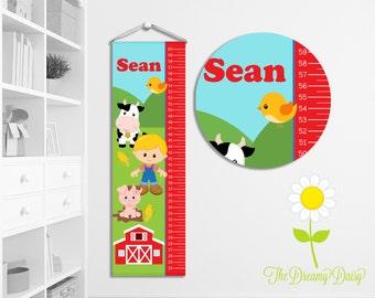 Personalized Farm Growth Chart for Kids - Custom Boys' Growth Chart w/ Name - Hanging Wall Height Chart - Farmer Kids' Room Decor