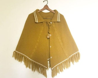 SHOP SALE Vintage Chartreuse Knotted Fringed Pancho