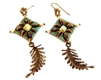 Boho Leaf Earrings, Hand Woven Bronze and Green Long Dangles