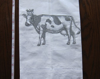 Linen tea towel w/embroidery.