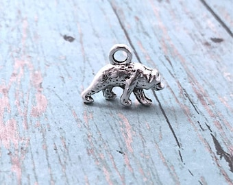 8 Small Bear charms 3D silver tone - silver bear pendants, animal charms, woodland charms, forest charms, animal pendants, AA9